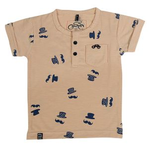 Polos & t shirts - Gusto Baby Boy's Peach Cotton Blend Round Neck T_Shirt (Code- GJ225_PEACH)