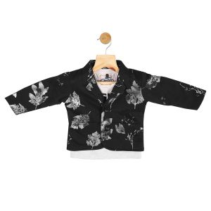 Partywear suits - Gusto Baby Boy's Black Cotton Blend Blazer with T_Shirt (Code-GJ271_BLACK)