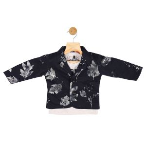Partywear suits - Gusto Baby Boy's Navy Blue Cotton Blend Blazer with T_Shirt (Code-GJ271_NAVY)