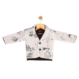 Partywear suits - Gusto Baby Boy's White Cotton Blend Blazer with T_Shirt (Code-GJ271_WHITE)
