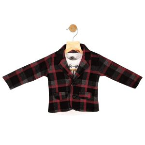 Partywear suits - Gusto Baby Boy's Red Cotton Blend Plaids Blazer with T_Shirt (Code-GJ272_RED)