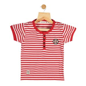 Polos & t shirts - Gusto Baby Boy's Red Cotton Stripes Printed T_Shirt_(Code-GJ292_RED)