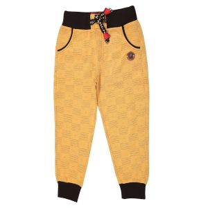 Gusto Mustard Poly Cotton Relaxed Fit Jogger Pants For Boys (code-j006_mustard)