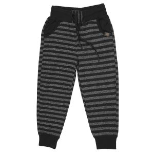 Gusto Black Poly Cotton Stripes Pattern Jogger Pants For Boys (code-j067_black)
