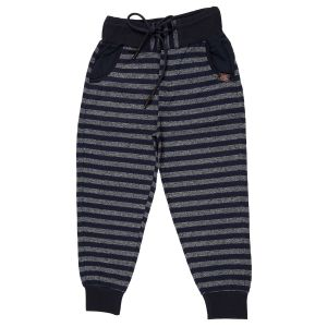 Gusto Navy Blue Poly Cotton Stripes Pattern Jogger Pants For Boys (code-j067_navy)