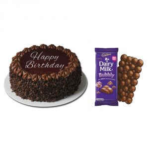 Cakes - Bigwishbox Choco Chip Cake with 1 Dairy Milk Bubbly