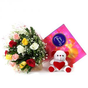 Bigwishbox Premium Fresh Mix Flowers Bouquet With Cadbury Celebration Set, 1 Teddy Bear