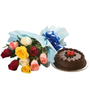 Bigwishbox Premium Fresh Mix Roses Bouquet With 500gm Chocolate Cake