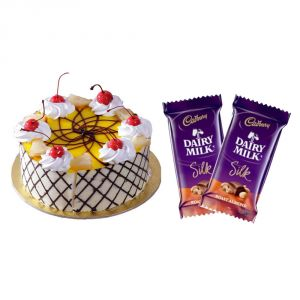 Cakes - Bigwishbox Pineapple Cake with 2 Dairy Milk Silk