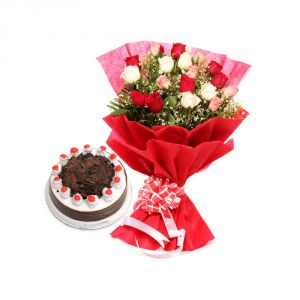 Bigwishbox Premium Fresh Mix Roses Bouquet With 500gm Black Forest Cake