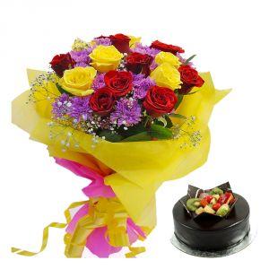 Bigwishbox Premium Fresh Mix Flowers Bouquet With 500gm Chocolate Cake