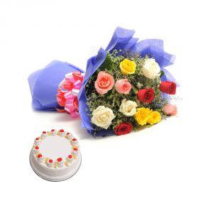 Bigwishbox Premium Fresh Mix Flowers Bouquet With 500gm Cake