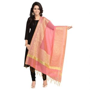 Fabric And Lace Jacquard Silk With Embroidery Butta Design Jacquard Dupatta ( Code - St058a )