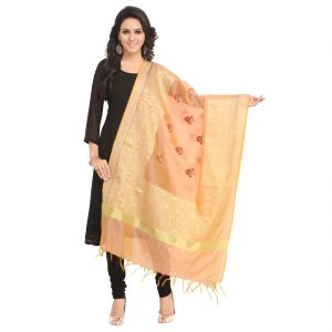 Fabric And Lace Jacquard Silk With Embroidery Butta Design Jacquard Dupatta ( Code - St059a )