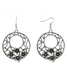 Silver Shine Stylish Silver Floral Hollow Drop Earring - ( Code - Nm-338 )