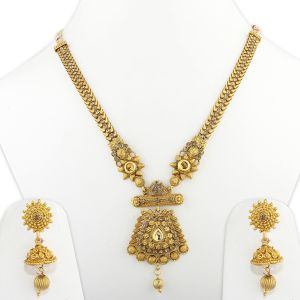 Silver Shine Exclusive Gold Plated Traditional Diamond Line Chain Ethnic Gold Colour Long Necklace Jewellery Set - ( Code - Nm-1031 )