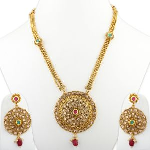 Silver Shine Exclusive Traditional Gold Plated Necklace Set Jewellery For Women And Girls - ( Code - Nm-1036 )