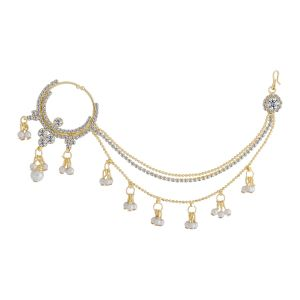 Silver Shine Traditional Gold Plated Diamond Studded Pearl Drop Designer Wedding Nose Ring Jewellery - ( Code - Nm-1091 )
