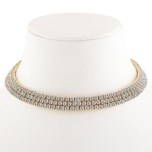 Silver Shine Gold Plated Triple Line White Colour Diamond Studded Partywear Necklace Jewellery