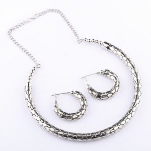 Silvershine Exclusive Silverplated Partywear Designer Shinning Hasli Necklace Set For Women Jewellery (code-nm-1299)