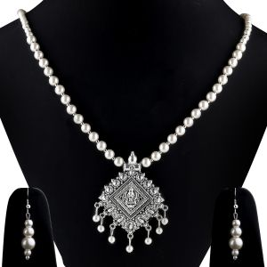 Silvershine Silverplated Elegant Designer Traditional Long Pearl Drop Pendant Necklace Set For Women Jewellery Set(coad-nm-1316)