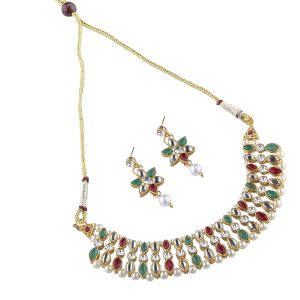Goldplated Multicolored Studded Necklace Set For Women.(code-nm-1364)