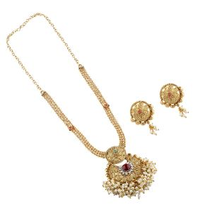 Goldplated Stone Studded Necklace Set For Women.(code-nm-1367)