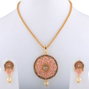 Goldplated Traditional Necklace Pendant Set For Women Jewellery(code-nm-1658)