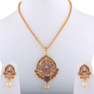 Designer Goldplated Traditional Pendant Set For Women Jewellery(code-nm-1663)