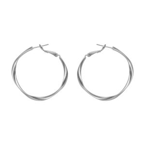Silver Shine Appealing Silver Polish Bali Round Hoop Earring For Women - ( Code - Nm-491 )