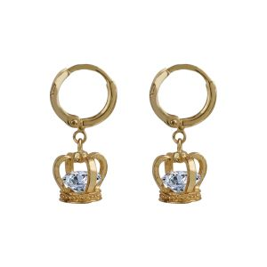 Silver Shine Gorgeous Gold Superb Polished Crown Design Hoop Bali Earring With Diamond - ( Code - Nm-512 )