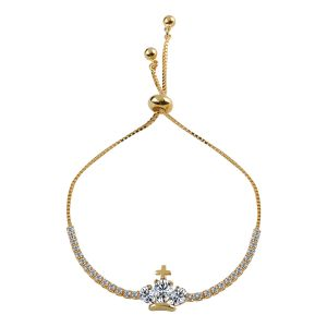 Silver Shine Exclusive Gold Diamond Crown Pendent Bracelet Daily Wear Jewelry - ( Code - Nm-709 )