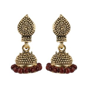 Silver Shine Trendy Maroon Beads With Golden Dots Jhumki Earrings - ( Code - Nm-75 )