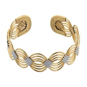 Silver Shine Adjustable Dual Plated Kada Bracelet - ( Code - Nm-756 )