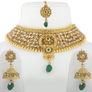 Silver Shine Gold Plated Choker Elegant Traditional Green Stone Studded Setset With Earring Jewelry Traditional Choker Set - ( Code - Nm-874 )