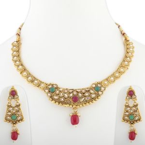 Silver Shine Traditional Gold Plated Elegant Designer Wedding Necklace Jewellery Set - ( Code - Nm-938 )