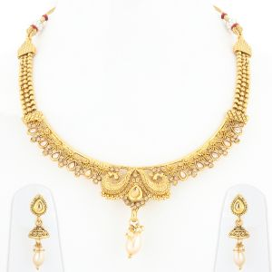 Silver Shine Traditional Gold Plated Elegant Designer Bridal Wedding Jewellery Set - ( Code - Nm-944 )