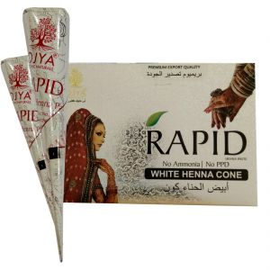 Personal Care & Beauty - OJYA RAPID White Henna Cone 25GM  (Pcs of 12) NO AMMONIA & PPD