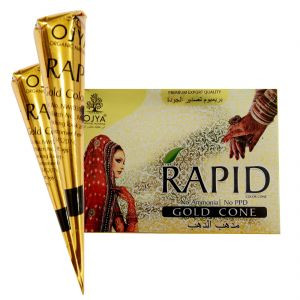 Personal Care & Beauty - OJYA RAPID GOLD HENNA CONE(EACH PACK 12 PCS) NO AMMONIA & PPD