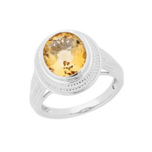 Gemstone Rings - Citrine 6.25 Carat Stone Silver Ring Lab Certified & Natural Stone Ring For Unisex (Code- CEY0004)