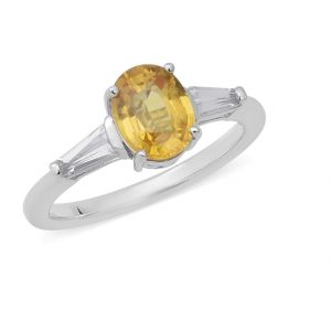 6.00 Ratti Natural Yellow Sapphire Ring Original & Natural Gemstone Silver Ring ( Code Red00030 )