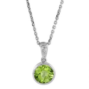 Gemstone Pendants - Natural Peridot pendant original & unheated stone silver pendant by CEYLONMINE ( code Red00013 )