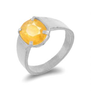 Natural Yellow Sapphire Ring Original & Unheated Stone Silver Ring ( Code - Red00026 )