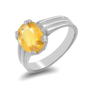 Yellow Sapphire Ring Natural & Original Stone Silver Ring 7.25 Ratti ( Code - Red00027 )