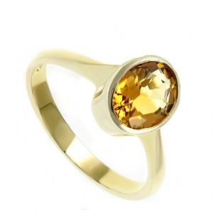 5.00 Ratti Natural Yellow Sapphire Ring Original & Unheated Gemstone Gold Plated Ring ( Code - Red00018 )