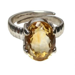 Citrine 7.25 Carat Stone Silver Ring Lab Certified & Semi- Precious Stone Ring (code- Cey0005)