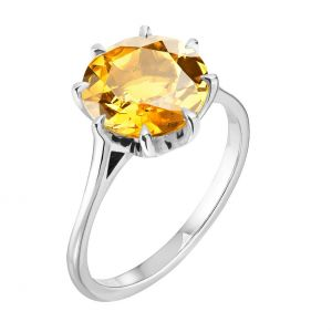 Citrine 7.25 Ratti Stone Silver Ring Lab Certified & Natural Stone Ring For Unisex (code- Cey0008)