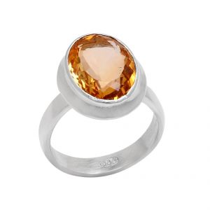 Natural Citrine 6.25 Carat Stone Silver Ring For Unisex (code- Cey0016)