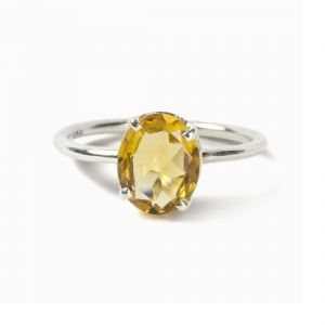 Original Stone Citrine 6.25 Carat Stone Silver Ring Lab Certified & Natural Stone Ring For Unisex (code- Cey0010)