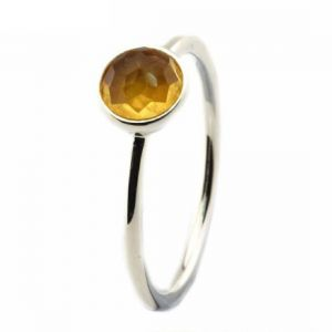 Gemstone Rings - Natural Citrine 5.25 Carat Stone Silver Ring Lab Certified & Natural Stone Ring For Unisex (Code- CEY0019)